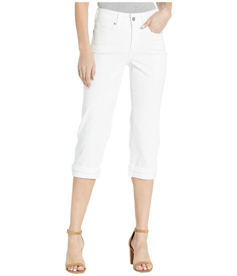 エヌワイディージェイ レディース デニムパンツ ボトムス Marilyn Crop Cuff Jeans with Frayed Cuffs in Optic White Optic White