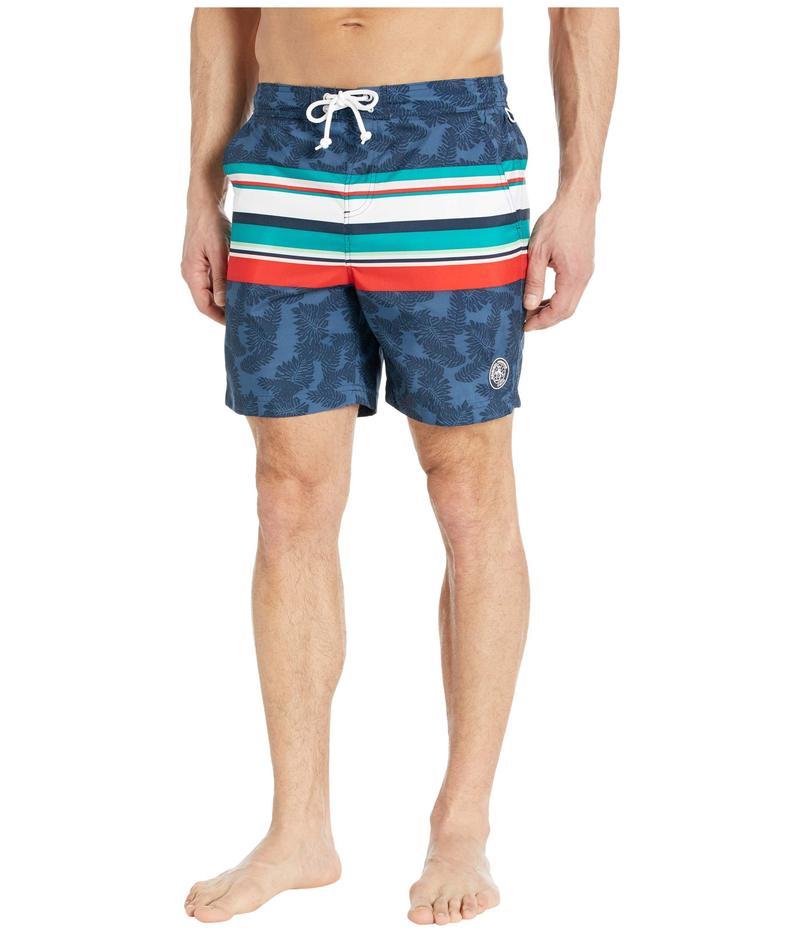 オリジナルペンギン メンズ ハーフパンツ・ショーツ 水着 Engineered Stripe Swim Shorts Dark Sapphire