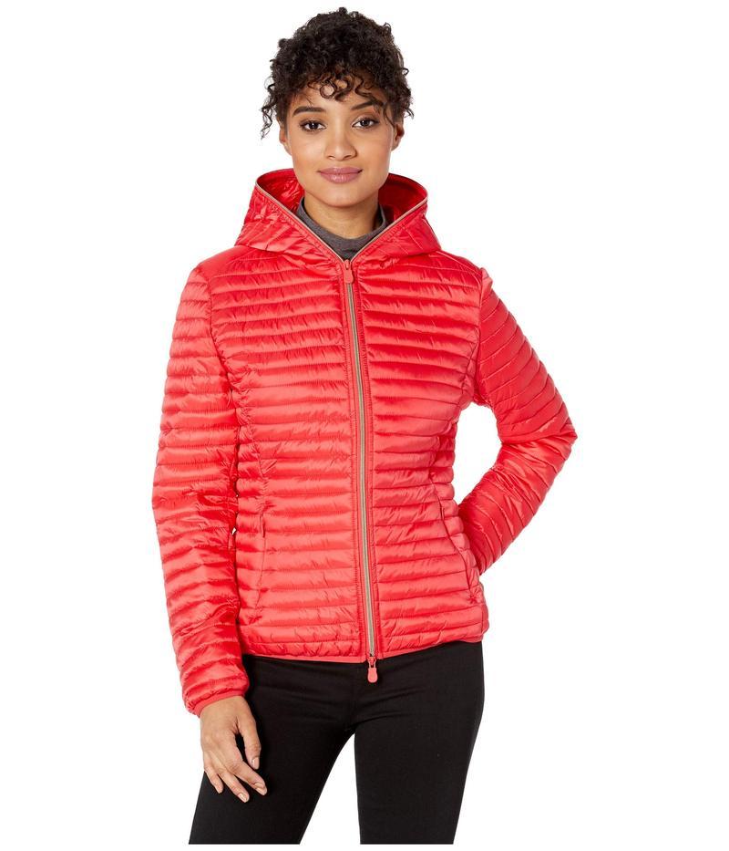 セイブ ザ ダック レディース コート アウター Hooded Basic Jacket Hibiscus Red