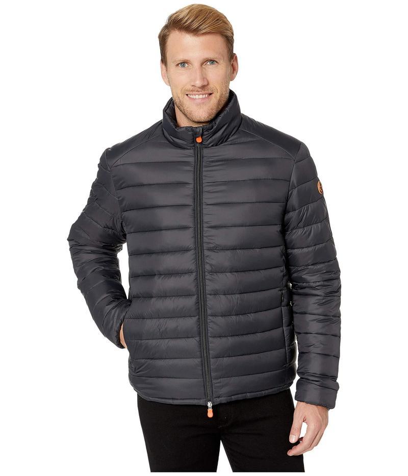 セイブ ザ ダック メンズ コート アウター Giga 9 Puffer Jacket with Faux Sherpa Lining Black