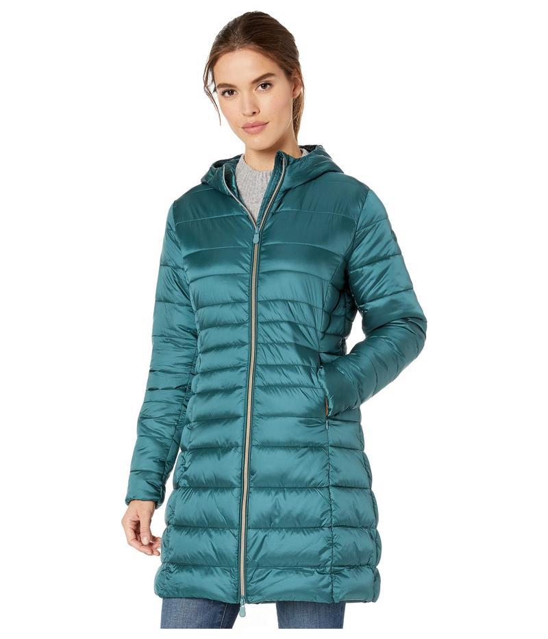 セイブ ザ ダック レディース コート アウター Iris 9 Hooded Puffer Coat Evergreen