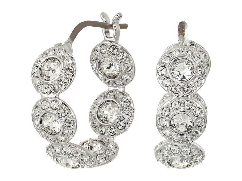 スワロフスキー レディース ピアス・イヤリング アクセサリー Angelic Hoop Pierced Earrings White