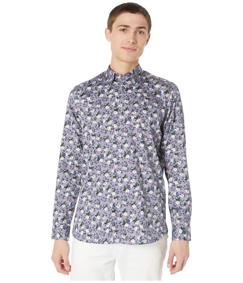 テッドベーカー メンズ シャツ トップス She Can Long Sleeve Bird and Flower Print Shirt Lilac