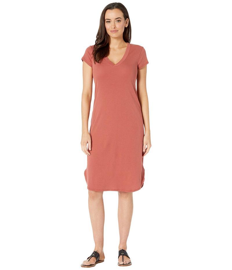 スリードッツ レディース ワンピース トップス Cotton Modal V-Neck Dress Adobe