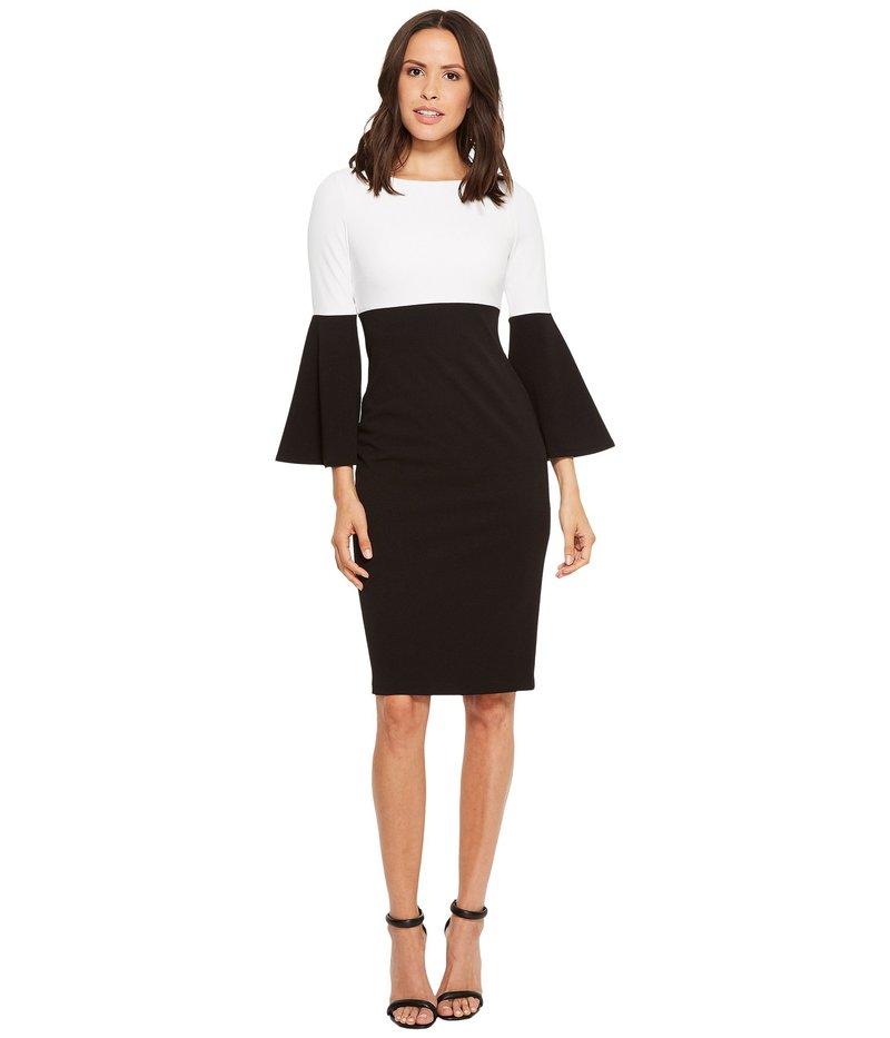 カルバンクライン レディース ワンピース トップス Color Block Bell Sleeve Dress CD8C15HU White/Black