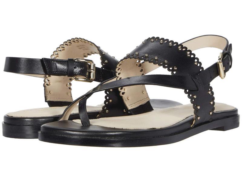 コールハーン レディース サンダル シューズ Anica Scallop Thong Sandal Black Leather/G