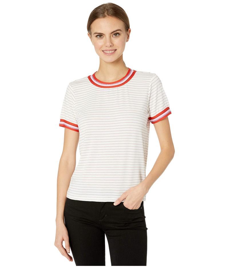 カップケーキアンドカシミア レディース シャツ トップス Quily Striped Knit Tee w/ Striped Tape Trim White