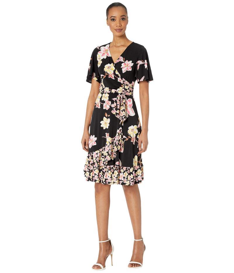 ドナモーガン レディース ワンピース トップス Short Sleeve Knit Jersey Faux Wrap Dress with Ruffle Hem and Twin Print Black/Pink