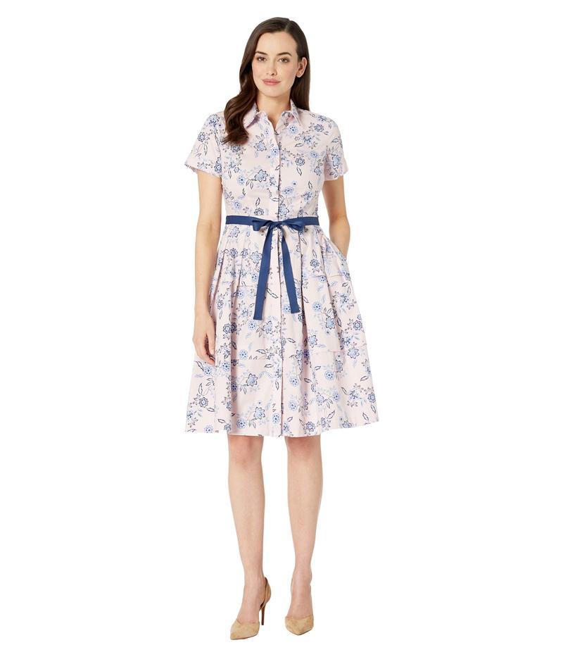 ドナモーガン レディース ワンピース トップス Short Sleeve Stretch Cotton Poplin Shirtdress with Contrast Grosgrain Belt Blush/Blue