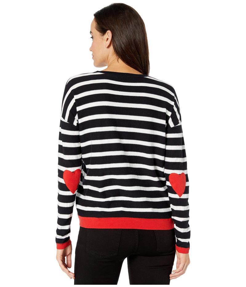 エリオットローレン レディース ニット・セーター アウター Open Heart Stripe Crew Neck Sweater with Heart Elbow Patch Black/White