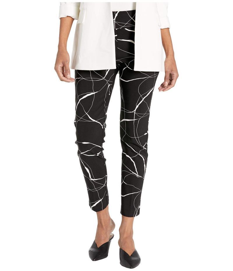 エリオットローレン レディース カジュアルパンツ ボトムス Brush Strokes Pull-On Crop Pants with Back Zipper Black/White