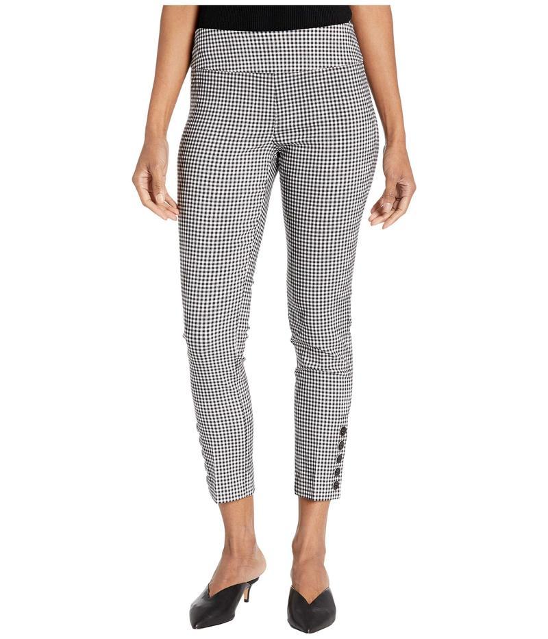 エリオットローレン レディース カジュアルパンツ ボトムス Stretch Gingham Pull-On Crop Pants with Button Details Black/White
