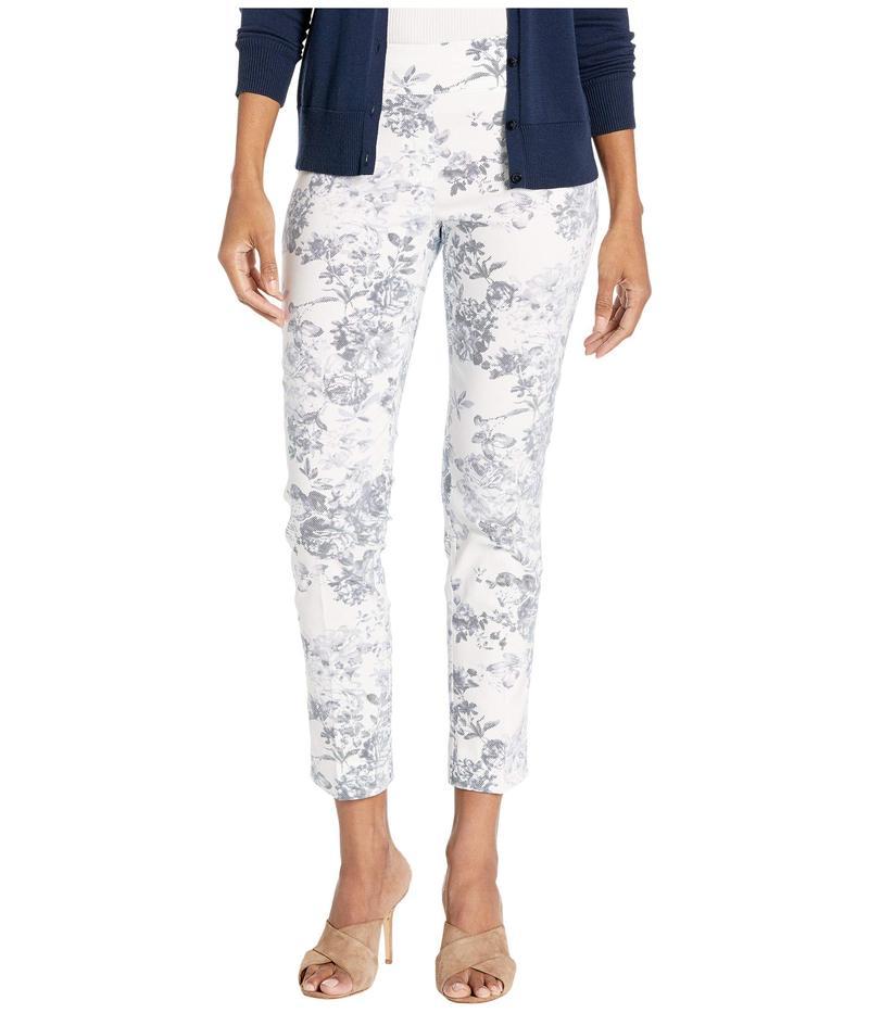 エリオットローレン レディース カジュアルパンツ ボトムス Fly Front Floral Pant w/ Center Crease Chambray/White