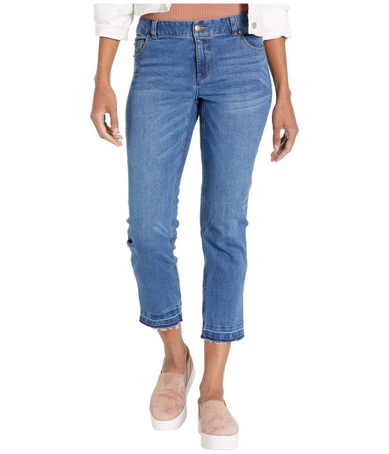 エリオットローレン レディース デニムパンツ ボトムス Washed Stretch Denim Five-Pocket Jeans with Frayed Hem in Denim Denim