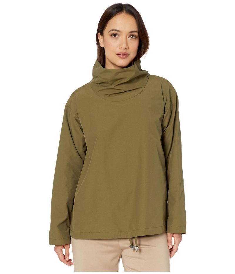 エイリーンフィッシャー レディース コート アウター Petite Light Organic Cotton Nylon Drape Neck Pullover Olive