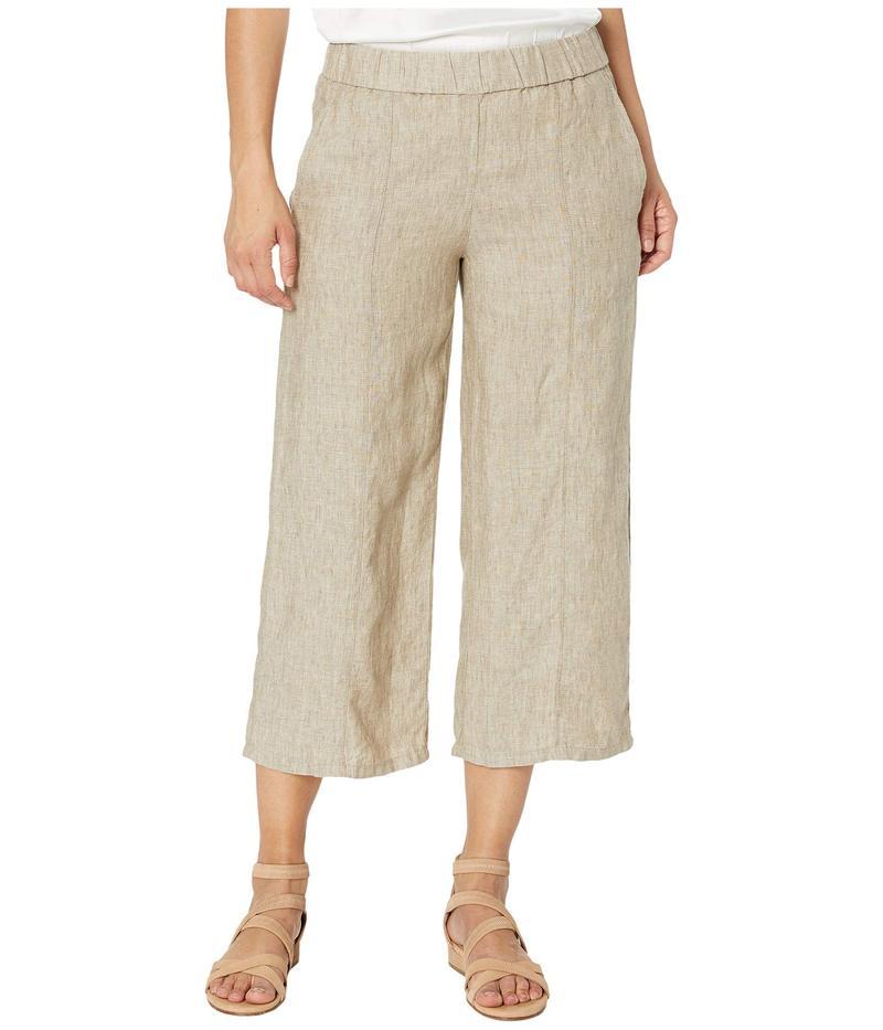 エイリーンフィッシャー レディース カジュアルパンツ ボトムス Petite Washed Organic Linen Delave Pull-On Wide Cropped Pants Khaki
