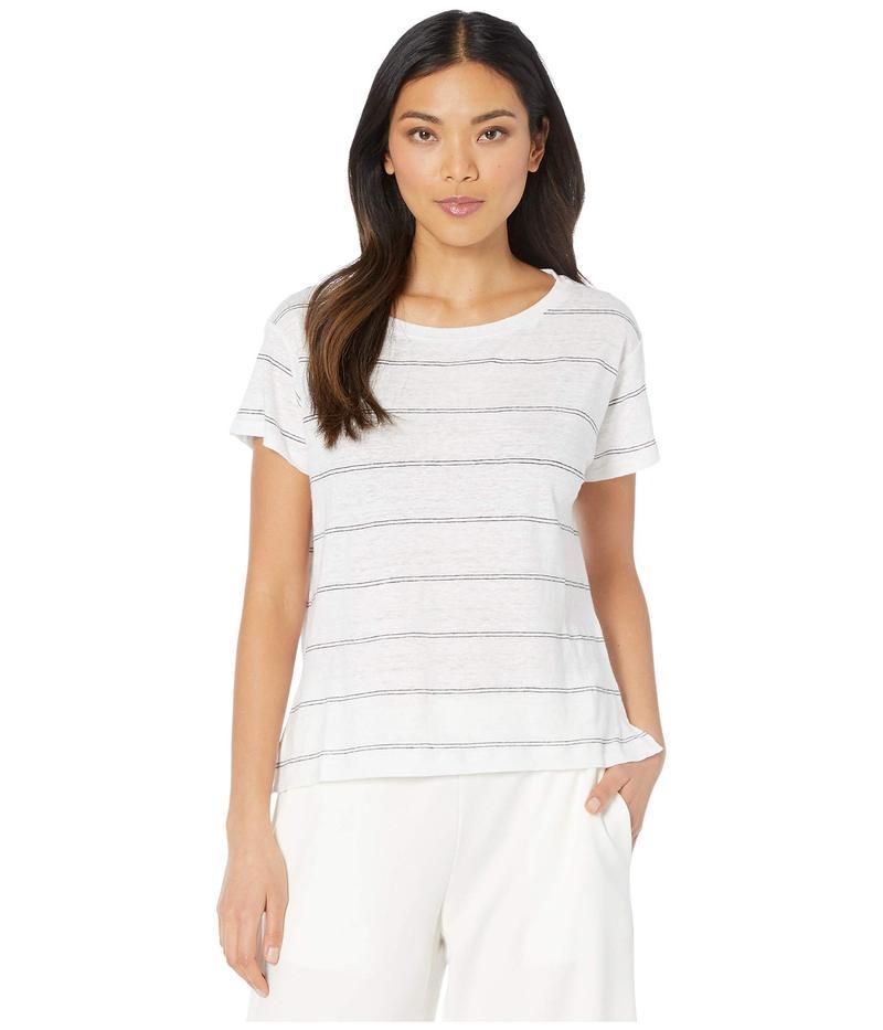 エイリーンフィッシャー レディース シャツ トップス Striped Organic Linen Jersey Ballet Neck Short Sleeve Tee White