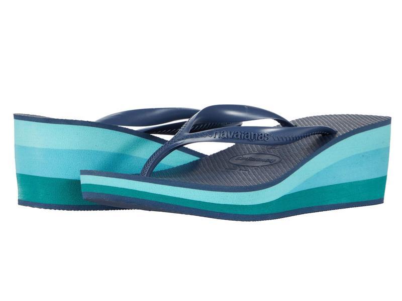ハワイアナス レディース ヒール シューズ High Fashion Flip Flops Indigo Blue
