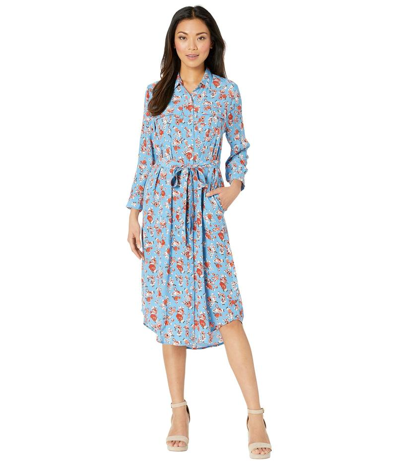ラッキーブランド レディース ワンピース トップス Long Sleeve V-Neck Two-Pocket Floral Chelsea Utility Dress Blue Multi