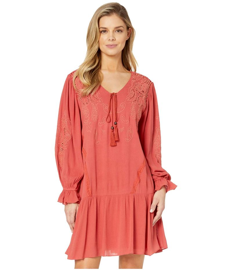 ミスミー レディース ワンピース トップス Embroidered Lace Trumpet Sleeve Dress Brick Red