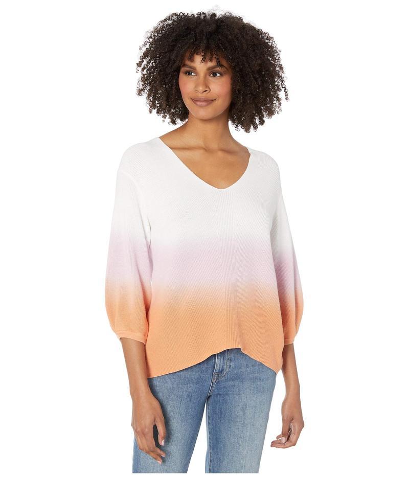 マイケルスターズ レディース ニット・セーター アウター Joanne V-Neck Dip-Dye Pullover Malibu Sweater Peony/Melon