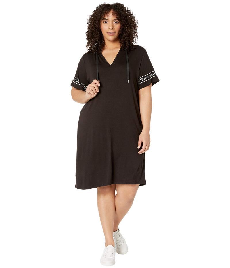 マイケルコース レディース ワンピース トップス Plus Size Logo Sleeve Hoodie Dress Black