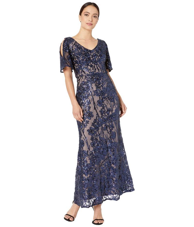 アレックスイブニングス レディース ワンピース トップス Petite Long V-Neck A-Line Dress with Cold-Shoulder Flutter Sleeve Navy/Nude