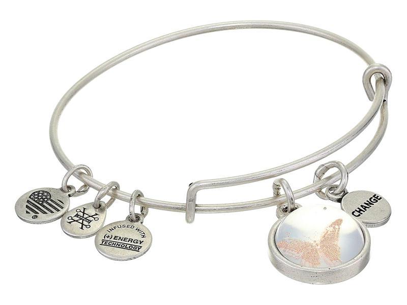 アレックスアンドアニ レディース ブレスレット・バングル・アンクレット アクセサリー Duo Charm Mantra Bangle Bracelet Silver/Butterfl