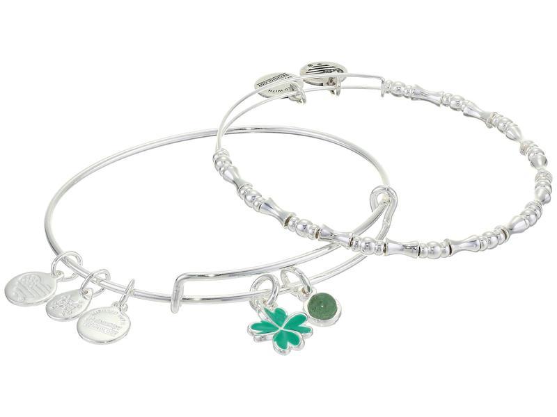 アレックスアンドアニ レディース ブレスレット・バングル・アンクレット アクセサリー Duo Charm Bangle Bracelet, Set of 2 Silver/Four Lea