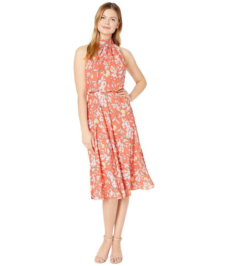 アドリアナ パペル レディース ワンピース トップス Tea Time Floral Halter Bias Dress Coral Multi