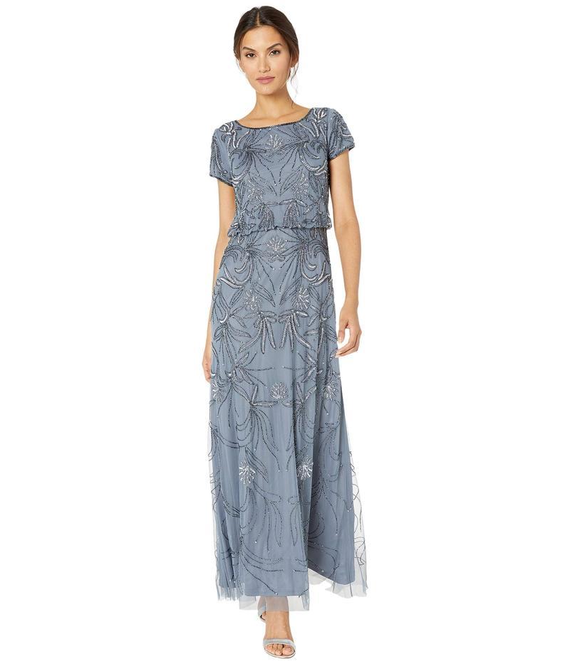 アドリアナ パペル レディース ワンピース トップス Beaded Blouson Evening Gown Dusty Blue