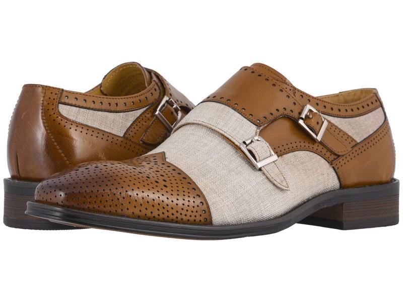 ステイシーアダムス メンズ オックスフォード シューズ Harper Cap Toe Double Monk Strap Saddle Tan/Beig
