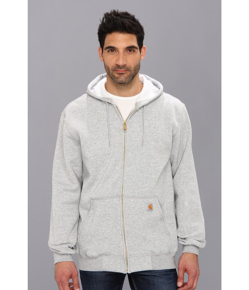 カーハート メンズ パーカー・スウェット アウター MW Hooded Zip Front Sweatshirt Heather Gray
