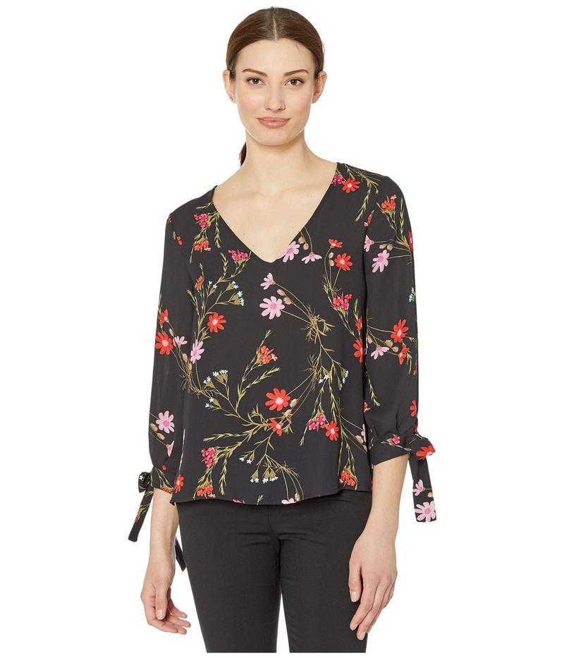 セセ レディース シャツ トップス 3/4 Sleeve Enchanted Wildflower Blouse with Tie Sleeves Rich Black