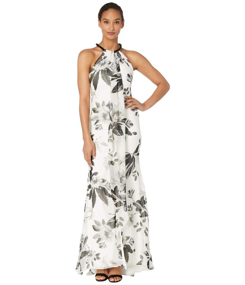 カルバンクライン レディース ワンピース トップス Beaded Neck Floral Gown Cream Multi