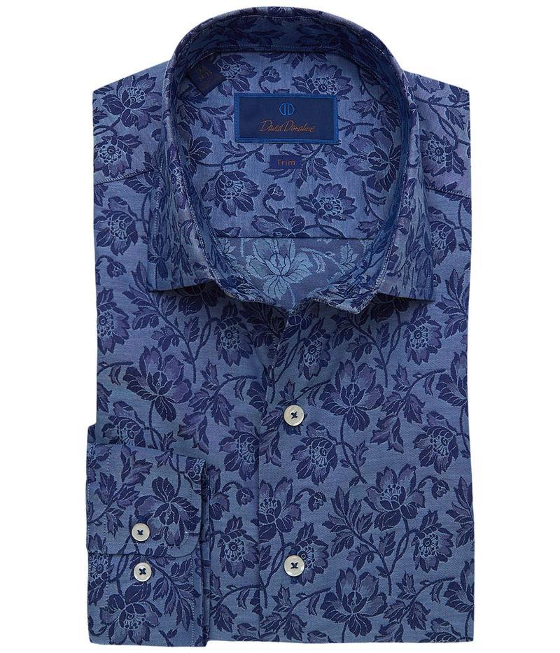デイビッドドナヒュー メンズ シャツ トップス Trim Fit Floral Fusion Shirt Navy