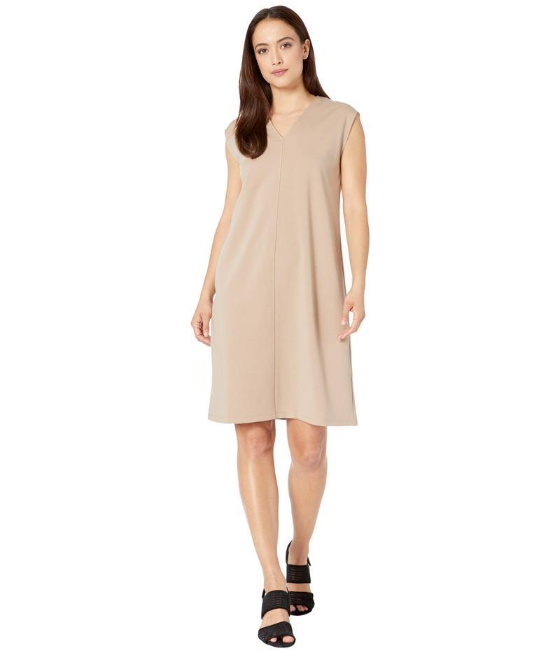 エイリーンフィッシャー レディース ワンピース トップス Petite V-Neck Knee Length Dress Bramble