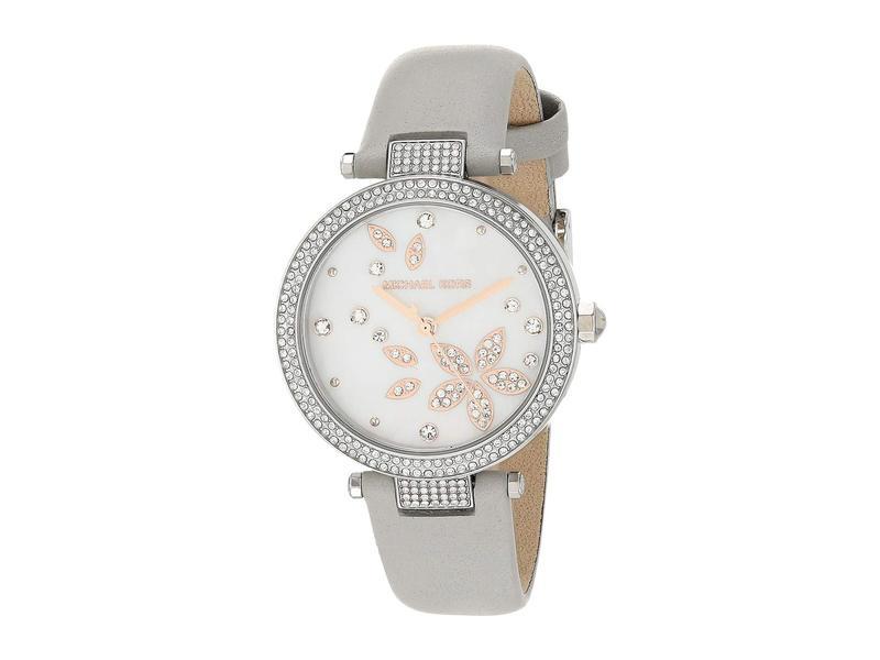マイケルコース レディース 腕時計 アクセサリー Parker Three-Hand Leather Watch Gray