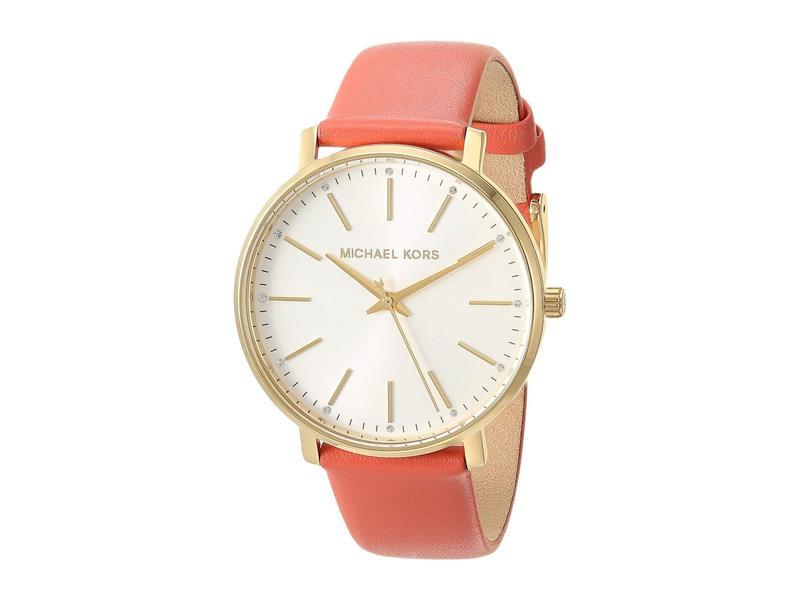 マイケルコース レディース 腕時計 アクセサリー Pyper Three-Hand Leather Watch Pink/Coral