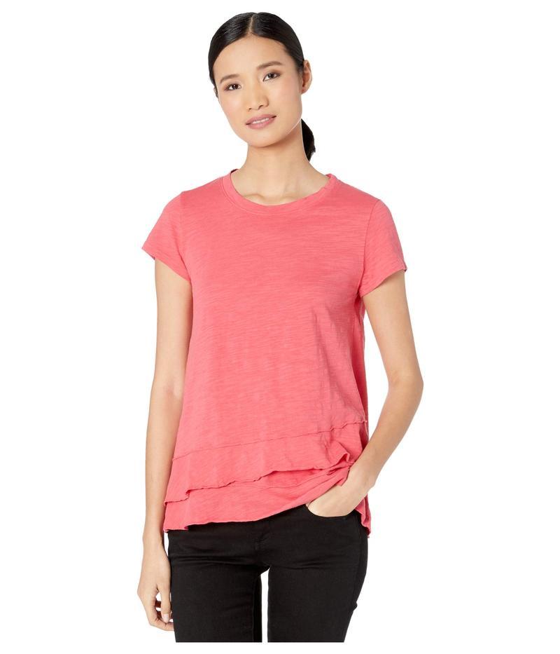 モッドドック レディース シャツ トップス Slub Jersey Asymmetrical Flounce Hem T-Shirt Azalea