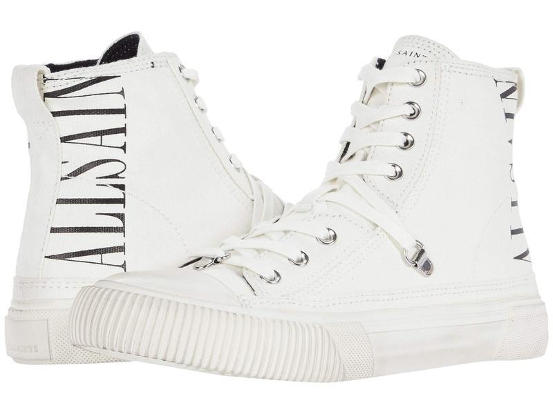 オールセインツ レディース スニーカー シューズ Elena Stamp High-Top Sneaker White Canvas