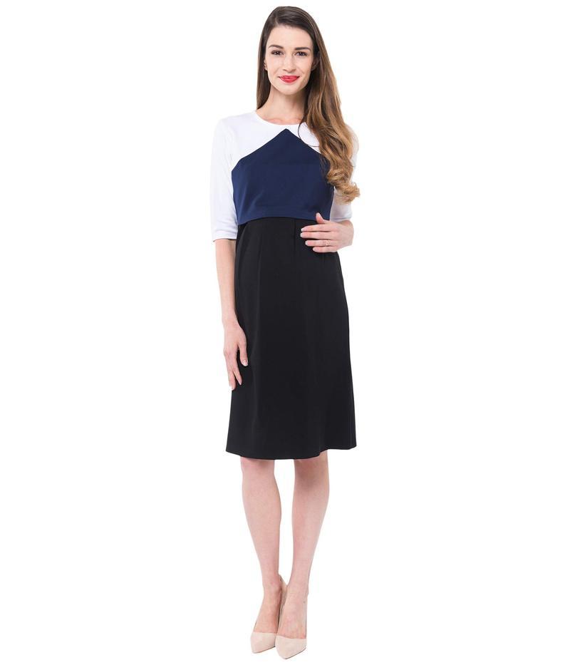 ノム レディース ワンピース トップス Valentina Maternity + Nursing Ponte Dress Color-Block