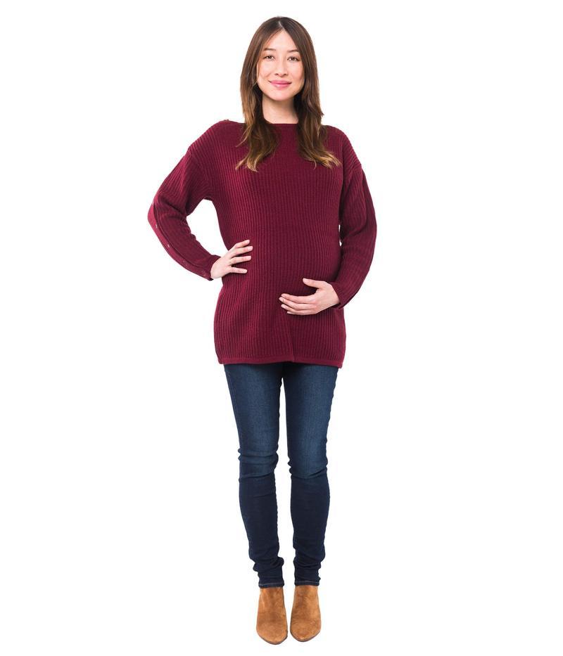 ノム レディース ニット・セーター アウター Odette Maternity + Nursing Sweater Merlot