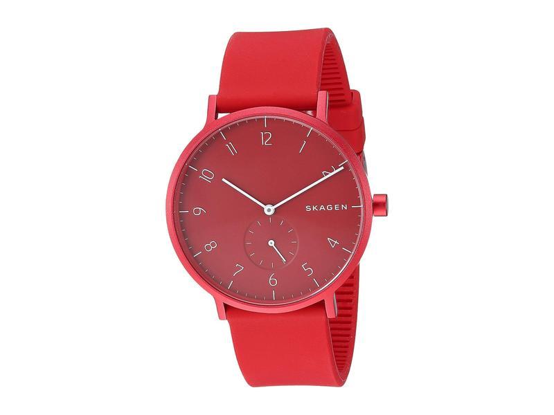 スカーゲン メンズ 腕時計 アクセサリー Aaren Kulor 41mm Three-Hand Silicone Watch SKW6512 Red Sil