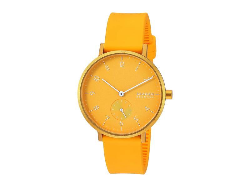 スカーゲン レディース 腕時計 アクセサリー Aaren Kulor 36mm Three-Hand Silicone Watch SKW2808 Yellow