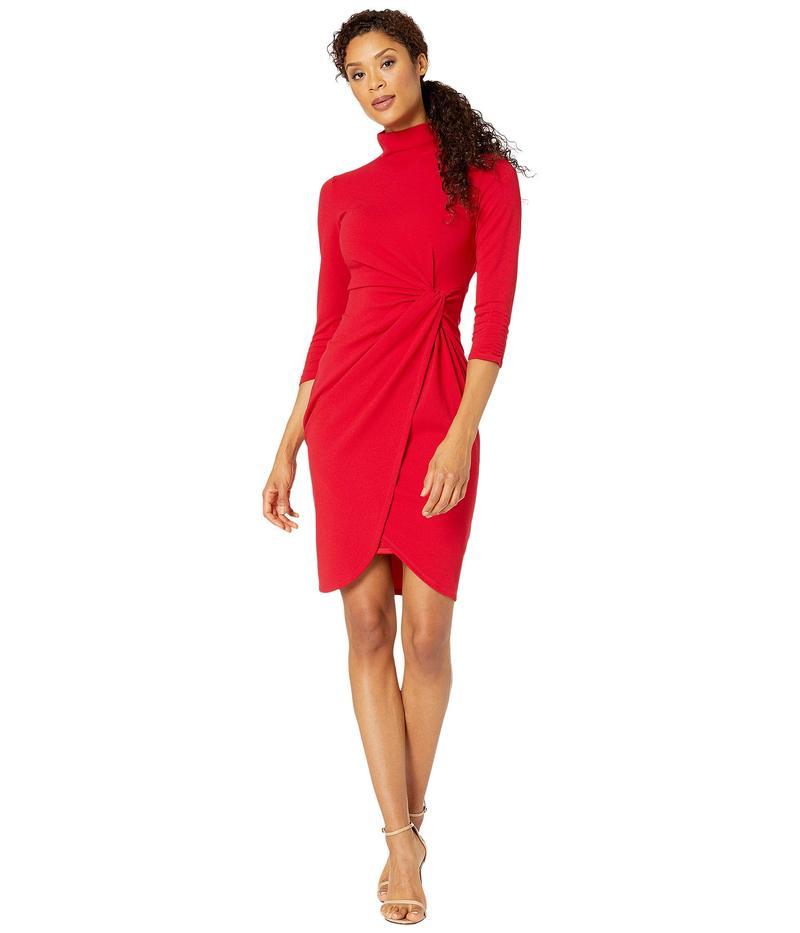 タハリ レディース ワンピース トップス Stretch Crepe Mock Neck Dress with Side Wrap and Cinched Sleeve Detail Ruby