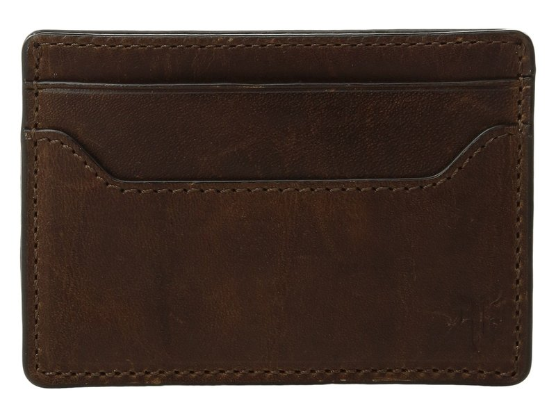 フライ メンズ 財布 アクセサリー Logan Money Clip Card Case Dark Brown Anti