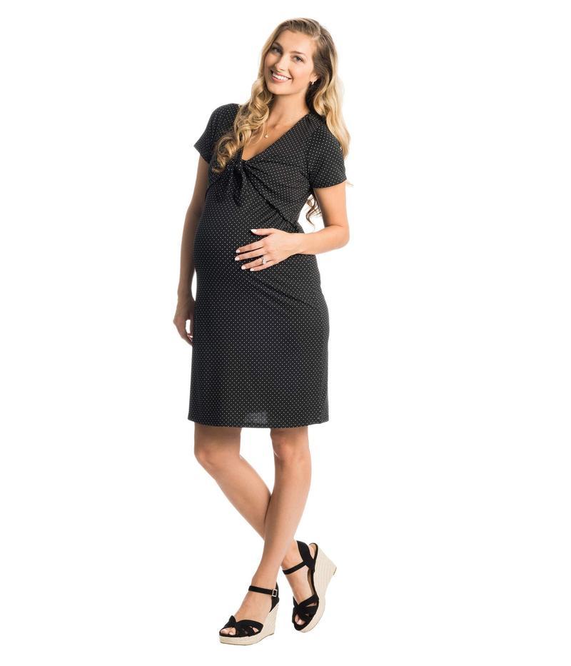 エヴァリーグレー レディース ワンピース トップス Jada Maternity/Nursing Dress Black Dot
