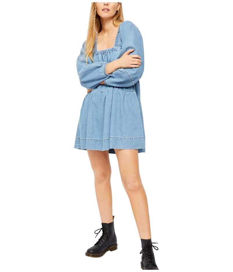 フリーピープル レディース ワンピース トップス Blue Jean Babydoll Dress Washed Denim