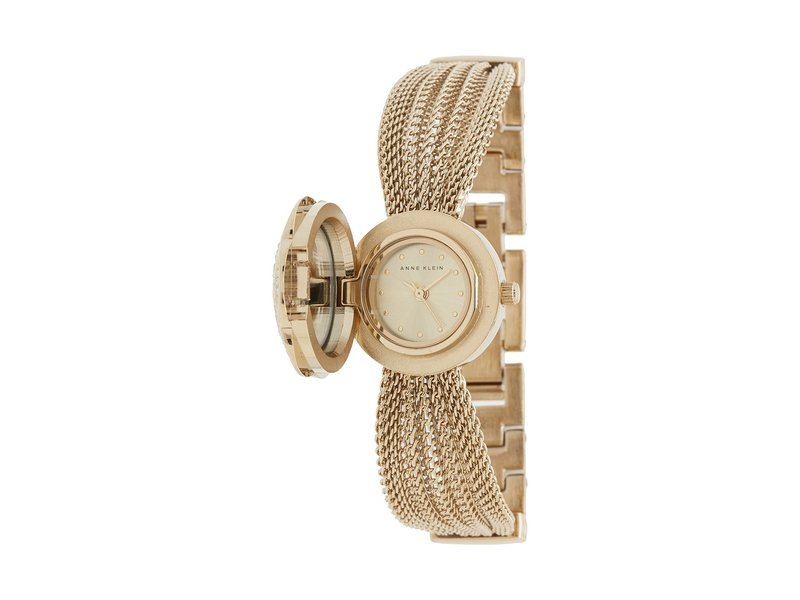 アンクライン レディース 腕時計 アクセサリー AK-1046CHCV Swarovski Crystal Accented Gold-Tone Covered Dial Mesh Bracelet Watch Gold